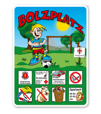 Spielplatzschild Bolzplatz - mit Tor 8P - KSP-2