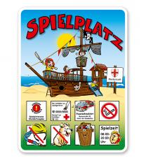 Spielplatzschilder Spielplatz - Piratenschiff am Strand 8P - KSP-2