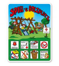 Spielplatzschilder Spielplatz u. Bolzplatz - mit Bolzwand 8P - KSP-2