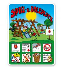 Spielplatzschilder Spielplatz u. Bolzplatz - mit Tor 8P - KSP-2