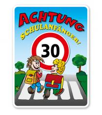 Kinderschild Achtung Schulanfänger 30er Zone - KSP-2