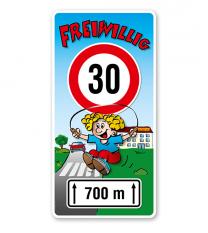 Kinderschild Freiwillig 30 km/h - Teilstrecke - KSP-2