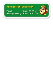 Spielplatz Zusatzschild Ruhezeiten beachten - KSP-2