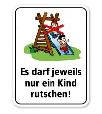 Spielplatzschild Es darf jeweils nur ein Kind rutschen – KSP-2