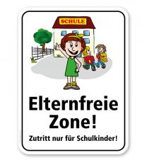 Schulschild Elternfreie Zone. Zutritt nur für Schulkinder – KSP-2