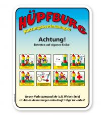 Spielplatzschild Hüpfburg - Nutzungsbestimmungen - KSP-2