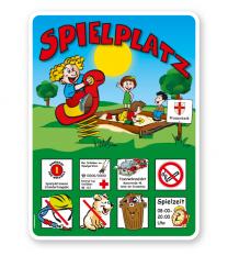 Spielplatzschild Kleinkinderspielplatz mit Wippe und Sandkasten - KSP-2