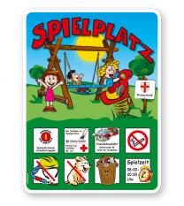 Spielplatzschild Kleinkinderspielplatz mit Wippe und Vogelnestschaukel - KSP-2
