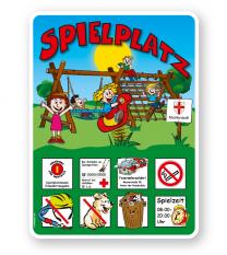Spielplatzschild mit Vogelnestschaukel und Seilgerüst - KSP-2