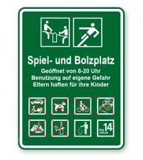 Spielplatzschild Spiel- und Bolzplatz 8P - KSP-3