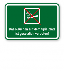 Zusatzschild Das Rauchen auf dem Spielplatz ist gesetzlich verboten - KSP-3