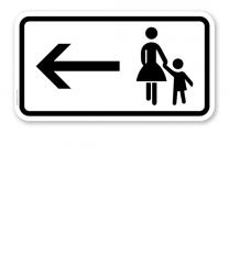 Zusatzschild Fußgänger Gehweg links gegenüber benutzen – Verkehrsschild VZ 1000-12