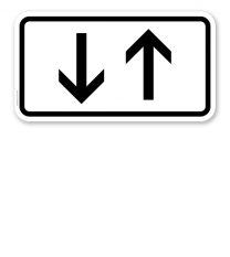 Zusatzschild Verkehr in beide Richtungen, zwei senkrechte Pfeile – Verkehrsschild VZ 1000-31