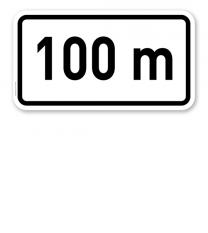 Zusatzschild in ... m/km - individuelle Entfernungsangabe – Verkehrsschild VZ 1004-30