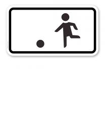 Zusatzschild Kinderspielen auf der Fahrbahn und dem Seitenstreifen erlaubt – Verkehrsschild VZ 1010-10