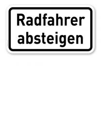Zusatzschild Radfahrer absteigen – Verkehrsschild VZ 1012-32