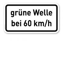 Zusatzschild Grüne Welle bei ... km/h - individuelle Geschwindigkeitsangabe – Verkehrsschild VZ 1012-34
