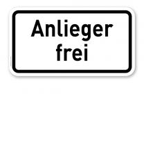 Zusatzschild Anlieger frei – Verkehrsschild VZ 1020-30