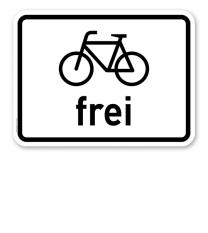 Zusatzschild Radfahrer frei – Verkehrsschild VZ 1022-10