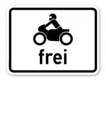 Zusatzschild Krafträder, auch mit Beiwagen, Kleinkrafträder und Mofas frei – Verkehrsschild VZ 1022-12