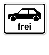 Zusatzschild Personenkraftwagen frei – Verkehrsschild VZ 1024-10