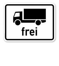 Zusatzschild Kraftfahrzeuge mit einer zul. Gesamtmasse über 3,5 t, einschl. Anhänger und Zugmaschinen, ausgenommen PKW und Kraftomnibusse frei - Verkehrsschild VZ 1024-12