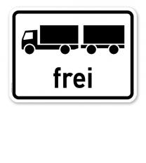 Zusatzschild Lastkraftwagen mit Anhänger frei - Verkehrsschild VZ 1024-13