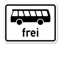 Zusatzschild Kraftomnibusse frei - Verkehrsschild VZ 1024-14