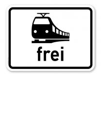 Zusatzschild Schienenbahn frei - Verkehrsschild VZ 1024-15