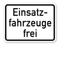 Zusatzschild Einsatzfahrzeuge frei – Verkehrsschild VZ 1026-33