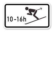 Zusatzschild Wintersport erlaubt, zeitlich begrenzt – Verkehrsschild VZ 1040-10