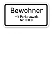 Zusatzschild Nur Bewohner mit Parkausweis Nr. ...  - individuelle Angabe – Verkehrsschild VZ 1044-30