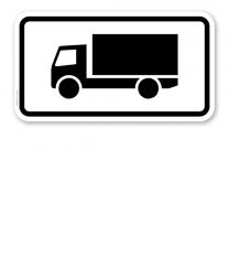 Zusatzschild Nur Kraftfahrzeuge mit zul. Gesamtmasse ü. 3,5 t, einschl. ihrer Anhänger und Zugmaschinen, ausgenommen Pkw und Kraftomnibusse – Verkehrsschild VZ 1048-12