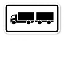 Zusatzschild Nur Lastkraftwagen mit Anhänger – Verkehrsschild VZ 1048-13