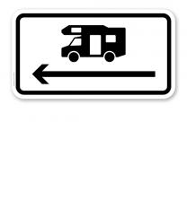 Zusatzschild Nur Wohnmobile - Pfeil links – Verkehrsschild VZ 1048-17-PL