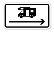 Zusatzschild Nur Wohnmobile - Pfeil rechts – Verkehrsschild VZ 1048-17-PR