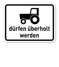Zusatzschild Kraftfahrzeuge und Züge bis 25 km/h dürfen überholt werden – Verkehrsschild VZ 1049-11