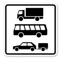 Zusatzschild Nur Kraftfahrzeuge mit einem Gesamtgewicht über 3,5 t, einschl. ihrer Anhänger, Zugmaschinen, Busse und PKW mit Anhänger - Verkehrsschild VZ 1049-13