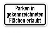 Zusatzschild Parken in gekennzeichneten Flächen erlaubt – Verkehrsschild VZ 1053-30