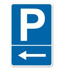 Parkplatzschild mit linksweisendem Pfeil – P