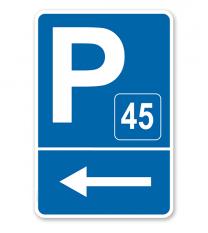 Parkplatzschild mit Pfeil links und Nummerierung – P