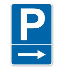 Parkplatzschild mit rechtsweisendem Pfeil – P