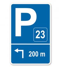 Parkplatzschild mit Pfeil links abknickend und Nummerierung – P