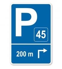 Parkplatzschild mit Pfeil rechts abknickend und Nummerierung – P