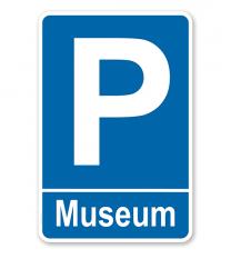 Parkplatzschild Museum – P