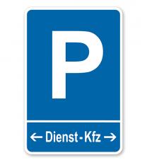 Parkplatzschild Dienst-KFZ mit Pfeilen – P