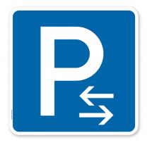 Parkplatzschild Parken Mitte - Verkehrszeichen VZ 314-30 - quadratisch - P