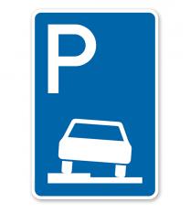 Parkplatzschild Parken halb auf Gehwegen - VZ 315-50