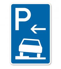 Parkplatzschild Parken halb auf Gehwegen - Anfang - VZ 315-51