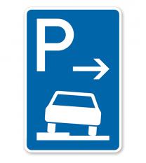 Parkplatzschild Parken halb auf Gehwegen - Ende - VZ 315-52